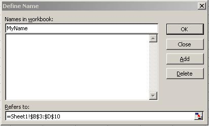 Excel 2003 Define Name
