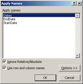 Excel 2007 Apply Names
