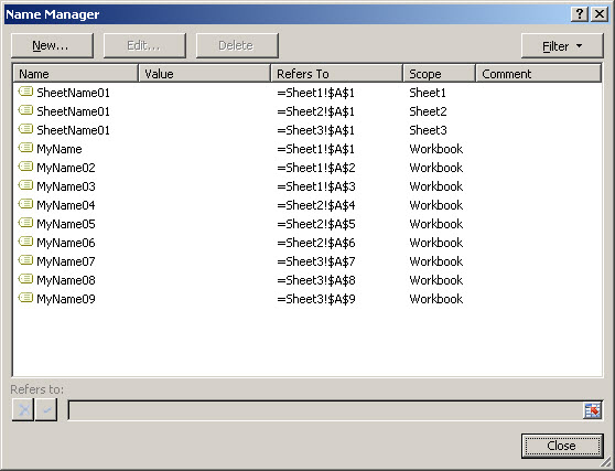 Excel 2007 Name Manager
