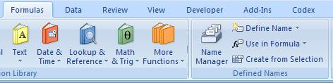 Excel 2007 Define Name Menu